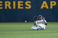Michigan Wolverines outfielder Johnny Slater (25) attempts to make a sliding catch against the Michigan State Spartans during the NCAA baseball game on April 18, 2017 at Ray Fisher Stadium in Ann Arbor, Michigan. Michigan defeated Michigan State 12-4. (Andrew Woolley/Four Seam Images)