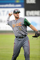 Sean Bouchard (6) of the Boise Hawks throws before a game against the Everett AquaSox at Everett Memorial Stadium on July 21, 2017 in Everett, Washington. Everett defeated Boise, 10-4. (Larry Goren/Four Seam Images)
