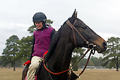 Janet Elliot and Flat Top at the gallops,, Springdale Race Course, November 2003.