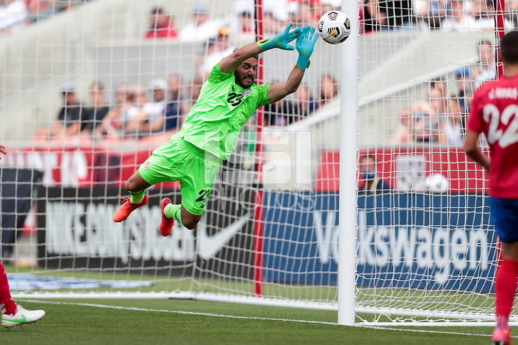 SANDY, UT - JUNE 10: Leonel Moreira #23 of Cosata Rica makes a save during a game between Costa Rica and USMNT at Rio Tinto Stadium on June 10, 2021 in Sandy, Utah.