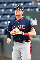 Right fielder Greyson Jenista (23) of the Rome Braves warms up before a game against the Greenville Drive on Wednesday, July 11, 2018, at Fluor Field at the West End in Greenville, South Carolina. He is the Atlanta Braves' 2018 second-round draft pick. (Tom Priddy/Four Seam Images)