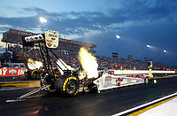 Aug 29, 2014; Clermont, IN, USA; NHRA top fuel dragster driver Morgan Lucas during qualifying for the US Nationals at Lucas Oil Raceway. Mandatory Credit: Mark J. Rebilas-USA TODAY Sports