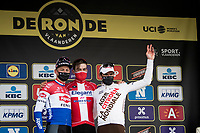 Kasper Asgreen (DEN/Deceuninck - Quick Step) wins the 105th edition of De Ronde.<br /> Mathieu Van der Poel (NED/Alpecin-Fenix) finishes 2nd & Greg Van Avermaet (BEL/AG2R Citroën) 3rd<br /> <br /> 105th Ronde van Vlaanderen 2021 (MEN1.UWT)<br /> <br /> 1 day race from Antwerp to Oudenaarde (BEL/264km) <br /> <br /> ©kramon