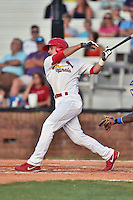 Johnson City Cardinals third baseman Paul DeJong (21) swings at a pitch during a game against the Kingsport Mets on June 25, 2015 in Johnson City, Tennessee. The Mets defeated the Cardinals 10-8 (Tony Farlow/Four Seam Images)