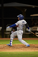 AZL Dodgers Lasorda Jorbit Vivas (56) hits a single during an Arizona League game against the AZL White Sox at Camelback Ranch on June 18, 2019 in Glendale, Arizona. AZL Dodgers Lasorda defeated AZL White Sox 7-3. (Zachary Lucy/Four Seam Images)