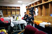 02-02-2014,Czech Republic, Ostrava, Cez Arena, Davis Cup Czech Republic vs Netherlands, ,  Dressing room, before play starts, Players relaxing, l.t.r.:  Robin Haase, stringer Ralph Pieterman and Thiemo de Bakker <br /> Photo: Henk Koster