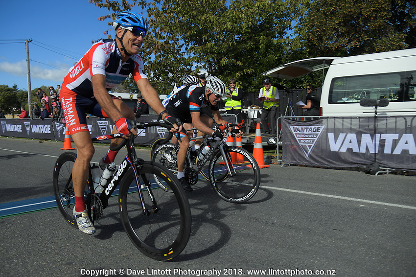 Masters men (7-9) finish the Millars Road circuit race on day two of the 2018 NZ Age Group Road Cycling Championships in Carterton, New Zealand on Saturday, 21 April 2018. Photo: Dave Lintott / lintottphoto.co.nz