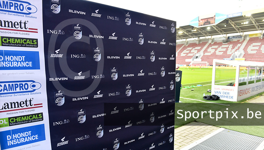 Zulte-Waregem's sponsors Lamett , DL Chemicals , Dhondt Insurance and Campro pictured on the banners during a female soccer game between Zulte Waregem and the KAA Gent Ladies on the fourth matchday of the 2020 - 2021 season of Belgian Scooore Womens Super League , saturday 10 October 2020  in Waregem , Belgium . PHOTO SPORTPIX.BE | SPP | DAVID CATRY