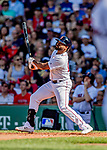 22 June 2019: Boston Red Sox center fielder Jackie Bradley Jr. at bat in the second inning against the Toronto Blue Jays at Fenway :Park in Boston, MA. The Blue Jays rallied to defeat the Red Sox 8-7 in the 2nd game of their 3-game series. Mandatory Credit: Ed Wolfstein Photo *** RAW (NEF) Image File Available ***