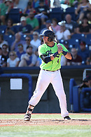 Tim Susanna (4) of the Hillsboro Hops bats during a game against the Spokane Indians at Ron Tonkin Field on July 23, 2017 in Hillsboro, Oregon. Spokane defeated Hillsboro, 5-3. (Larry Goren/Four Seam Images)