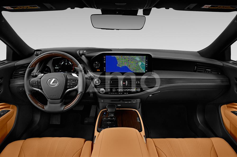 Stock photo of straight dashboard view of 2021 Lexus LS 500 4 Door Sedan Dashboard