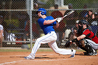 Illinois College Blueboys center fielder Mason Durdel (13) at bat during a game against the Edgewood Eagles on March 14, 2017 at Terry Park in Fort Myers, Florida.  Edgewood defeated Illinois College 11-2.  (Mike Janes/Four Seam Images)