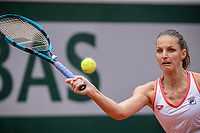 29th September 2020, Roland Garros, Paris, France; French Open tennis, Roland Garros 2020;  Karolina PLISKOVA CZE plays a forehand during her match against Mayar SHERIF EGY in the Philippe Chatrier court on the first round of the French Open