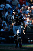SAN FRANCISCO, CA - Mike Piazza of the New York Mets stands behind the plate during Game 1 of the NLDS against the San Francisco Giants at Pacific Bell Park in San Francisco, California on October 4, 2000. Photo by Brad Mangin
