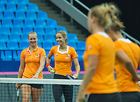 Moskou, Russia, Februari 4, 2016,  Fed Cup Russia-Netherlands,  Dutch team practise doubles   Kiki Bertens (L) and Arantxa Rus <br /> Photo: Tennisimages/Henk Koster