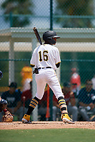 GCL Pirates Angel Basabe (16) at bat during a Gulf Coast League game against the GCL Twins on August 6, 2019 at Pirate City in Bradenton, Florida.  GCL Twins defeated the GCL Pirates 1-0 in the second game of a doubleheader.  (Mike Janes/Four Seam Images)