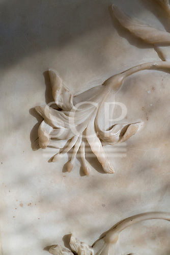 Agra, Uttar Pradesh, India. The Taj Mahal; detail of floral carving on a bas relief marble panel.
