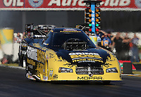 Feb. 14, 2013; Pomona, CA, USA; NHRA funny car driver Jeff Arend during qualifying for the Winternationals at Auto Club Raceway at Pomona.. Mandatory Credit: Mark J. Rebilas-