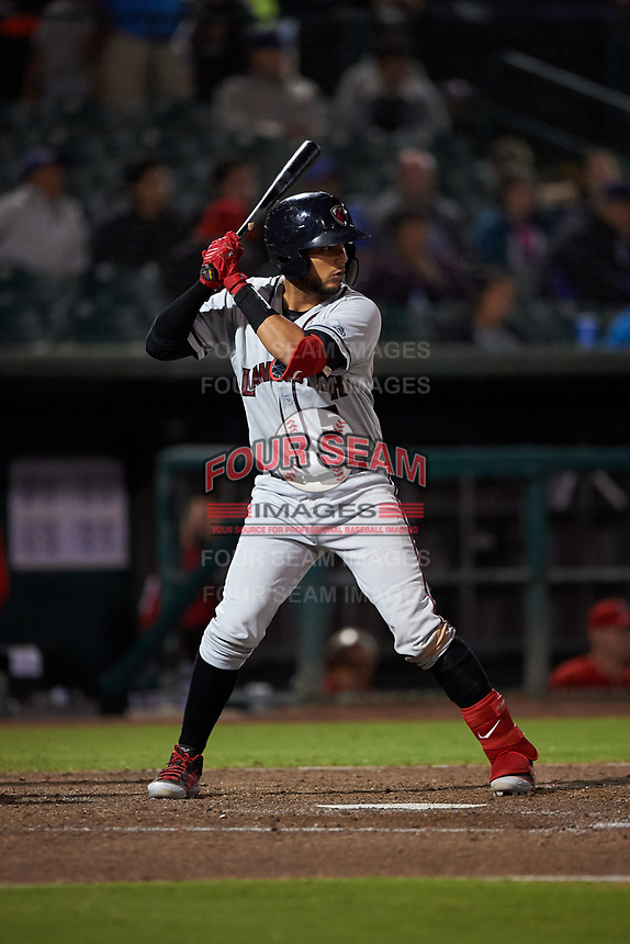 Lancaster JetHawks catcher Joel Diaz (5) at bat during a California League game against the Inland Empire 66ers at San Manuel Stadium on May 18, 2018 in San Bernardino, California. Lancaster defeated Inland Empire 5-3. (Zachary Lucy/Four Seam Images)