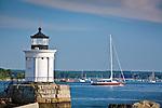 """Bug Light"" / Portland Breakwater Light overlooks Casco Bay in South Portland, ME, USA"