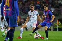 14th September 2021; Nou Camp, Barcelona, Spain; UEFA Champions league, FC Barcelona versus Bayern;   Gavi under pressure from Goretzka