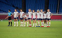 YOKOHAMA, JAPAN - JULY 30: The USWNT watches penalty kicks during a game between Netherlands and USWNT at International Stadium Yokohama on July 30, 2021 in Yokohama, Japan.