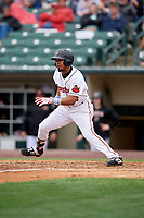 Rochester Red Wings Luis Arraez (9) at bat during an International League game against the Charlotte Knights on June 16, 2019 at Frontier Field in Rochester, New York.  Rochester defeated Charlotte 3-2 in the second game of a doubleheader.  (Mike Janes/Four Seam Images)