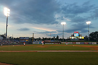 General view of a Mississippi Braves game against the Pensacola Blue Wahoos on May 28, 2015 at Trustmark Park in Pearl, Mississippi.  Mississippi defeated Pensacola 4-2.  (Mike Janes/Four Seam Images)