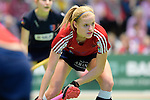 GER - Luebeck, Germany, February 06: During the 1. Bundesliga Damen indoor hockey semi final match at the Final 4 between Berliner HC (blue) and Duesseldorfer HC (red) on February 6, 2016 at Hansehalle Luebeck in Luebeck, Germany. Final score 1-3 (HT 0-1). (Photo by Dirk Markgraf / www.265-images.com) *** Local caption *** Annika Sprink #3 of Duesseldorfer HC
