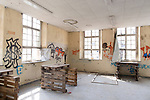 """Das ehemalige St. Josefsheim Waldniel-Hostert, Fuehrung durch das Heim mit der Kentschool Security Group, innen, Graffiti, niemand, [das Josefsheim ist ein ehemaliges Franziskaner-Heim fuer Kinder mit Behinderung, nach 1937 war es die Kinderfachabteilung der Provinzial Heil- und Pflegeanstalt, in dieser Zeit wurden ca. 100 Kindern mit Behinderung durch die Nationalsozialisten ermordet, von 1963 bis 1991 britische Kent-School], heute leerstehende Ruine, [Treffpunkt fuer """"Geisterjaeger""""], lost place, lost places, moderne Ruine, Verfall, verfallen, Gedenkstaette, Euthanasie, Kindereuthanasie, Naziverbrechen, Verbrechen, Behinderung, Nationalsozialismus, Nazi-Zeit, Drittes Reich, Geschichte, Historie, Josefs-Heim, Europa, Deutschland, Nordrhein-Westfalen, Viersen, Schwalmtal, 08/2013<br /> <br /> Engl.: Europe, Germany, North Rhine-Westphalia, Viersen, Schwalmtal, former St. Josefsheim Waldniel-Hostert, guided tour through the home with the Kentschool Security Group, building, interior view, graffiti, memorial site, euthanasia, mercy killing, crime, disability, National Socialism, Third Reich, history, the Josefsheim is a former home managed by Franciscan monks for disabled children, after 1937 the National Socialists killed approx. 100 disabled children there, from 1963 - 1991 British Kent-School, August 2013"""