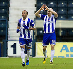 Kilmarnock v St Johnstone....15.01.11  .Conor Sammon celebrates his goal with Mehdi Taouil.Picture by Graeme Hart..Copyright Perthshire Picture Agency.Tel: 01738 623350  Mobile: 07990 594431