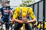 Race leader Yellow Jersey Mathieu Van Der Poel ((NED) Alpecin-Fenix lines up for the start of Stage 4 of the 2021 Tour de France, running 150.4km from Redon to Fougeres, France. 29th June 2021.  <br /> Picture: A.S.O./Charly Lopez   Cyclefile<br /> <br /> All photos usage must carry mandatory copyright credit (© Cyclefile   A.S.O./Charly Lopez)
