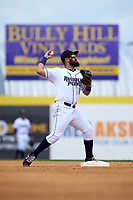 Binghamton Rumble Ponies second baseman Luis Guillorme (3) throws to first base during a game against the Hartford Yard Goats on July 9, 2017 at NYSEG Stadium in Binghamton, New York.  Hartford defeated Binghamton 7-3.  (Mike Janes/Four Seam Images)