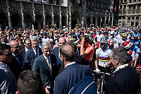 King Filip of Belgium meeting/greeting Tour-boss Christian Prudhomme, the riders & Eddy Merckx at the race start in Brussels<br /> <br /> Stage 1: Brussels to Brussels(BEL/192km) 106th Tour de France 2019 (2.UWT)<br /> <br /> ©kramon