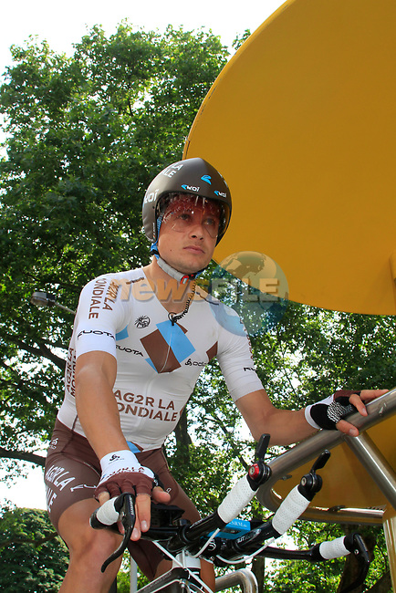 Nicolas Roche (IRL) AG2R La Mondiale waits to start the Prologue of the 99th edition of the Tour de France 2012, a 6.4km individual time trial starting in Parc d'Avroy, Liege, Belgium. 30th June 2012.<br /> (Photo by Eoin Clarke/NEWSFILE)