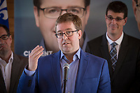 PQ candidate for the riding of Jean-Talon Clement Laberge talk to the press during the presentation of parti Quebecois candidates for the upcoming byelection Tuesday May 5, 2015.<br /> <br /> PHOTO :  Francis Vachon - Agence Quebec Presse
