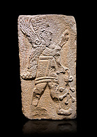 Aslantepe Hittite relief sculpted orthostat stone panel. Limestone, Aslantepe Malatya, 1200-700 B.C. Anatolian Civilizations Museum, Ankara, Turkey. Winged protective god holds a branch with fruits. in his left hand, and a fruit in his right hand.<br /> <br /> Against a black background.