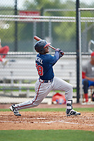 Atlanta Braves Raysheandall Michel (28) during a Minor League Extended Spring Training game against the Philadelphia Phillies on April 20, 2018 at Carpenter Complex in Clearwater, Florida.  (Mike Janes/Four Seam Images)