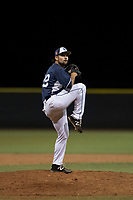 AZL Padres 2 relief pitcher Hazahel Quijada (28) delivers a pitch during an Arizona League game against the AZL Padres 1 at Peoria Sports Complex on July 14, 2018 in Peoria, Arizona. The AZL Padres 1 defeated the AZL Padres 2 4-0. (Zachary Lucy/Four Seam Images)