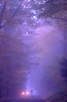Car pulled over on a foggy evening in Hanover New Hampshire.