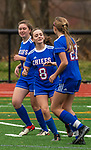 WOODBURY, CT-111120JS15 —Nonnewaug's Maylan Hardisty (21) is congratulated by teammate Alexi Bernardi (8) after scoring a goal against Wolcott Tech during their game Wednesday at Nonnewaug High School. <br /> Jim Shannon Republican-American