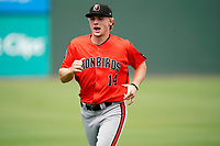 Third baseman Gunnar Henderson (14) of the Aberdeen IronBirds before a game against the Greenville Drive on Sunday, July 11, 2021, at Fluor Field at the West End in Greenville, South Carolina. (Tom Priddy/Four Seam Images)