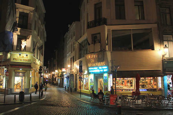 Waffles (gaufre) for desert in Brussels, Belgium