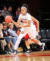 CHARLOTTESVILLE, VA- December 7: Ataira Franklin #23 of the Virginia Cavaliers handles the ball during the game against the Liberty Lady Flames on December 7, 2011 at the John Paul Jones arena in Charlottesville, Va. Virginia defeated Liberty 64-38. (Photo by Andrew Shurtleff/Getty Images) *** Local Caption *** Ataira Franklin