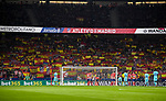 Supporters of of Atletico de Madrid waves the team's and the Spanish flags at Wanda Metropolitano during the La Liga 2017-18 match between Atletico de Madrid and FC Barcelona on 14 October 2017 in Madrid, Spain. Photo by Diego Gonzalez / Power Sport Images