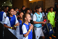 Carson, CA - Thursday August 03, 2017: Escort kids, Miho Manya prior to a 2017 Tournament of Nations match between the women's national teams of the United States (USA) and Japan (JPN) at the StubHub Center.