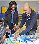 Local graffitti artist GONZO247 conducts an art class for 20 students from Codwell Elementary School at the Morefield Boys and Girls Club, January 19, 2016.
