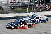 #18: Noah Gragson, Kyle Busch Motorsports, Toyota Tundra Safelite and #21: Johnny Sauter, GMS Racing, Chevrolet Silverado Allegiant Airlines