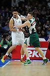 Real Madrid´s Gustavo Ayon and Zalgiris Kaunas´s -- during 2014-15 Euroleague Basketball match between Real Madrid and Zalgiris Kaunas at Palacio de los Deportes stadium in Madrid, Spain. April 10, 2015. (ALTERPHOTOS/Luis Fernandez)