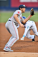 Greenville Drive third baseman Triston Casas (38) awaits the throw during a game against the Asheville Tourists at McCormick Field on July 10, 2019 in Asheville, North Carolina. The Tourists defeated the Drive 1-0. (Tony Farlow/Four Seam Images)